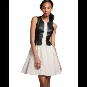 NWT Tracy Reese Contrast Frock Leather Rockabilly